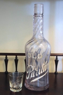 Old Puritan Back Bar Bottle and Shot Glass