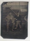 Two Detective Looking Men with Badges Tintype