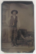 Cowboy with Gold Chain Pocket Watch Tintype