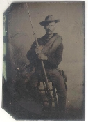 Spanish American War Soldier with Musket Tintype