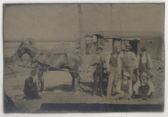 Horse and Wagon with Passengers Tintype