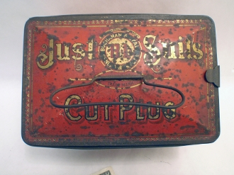 Just Suits Cut Plug Tobacco Advertising Tin Buchanan and Lyall