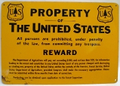 Forest Service Department of Agriculture REWARD sign