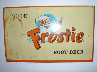Frostie Root Beer Metal Tin Advertising Sign