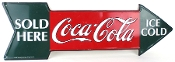 Coca Cola Green & Red Metal Arrow Tin Sign Ice Cold Sold Here