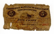 5 Cent Farmers and Manufacturers Bank Poughkeepsie Note