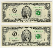 2 Dollar Bill Federal Reserve 1995 Series