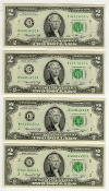 2 Dollar Bills 1976 Bicentennial Currency Consecutive Set of 4