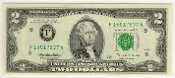 2 Dollar Bicentennial Bill 1995 Federal Reserve 1995 Series