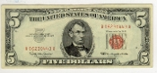5 Dollar 1963 Red Seal Federal Reserve Note Currency