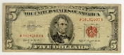 5 Dollar Bill Red Seal 1963 Federal Reserve Note Currency