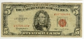 5 Dollar Bill 1963 Red Seal Federal Reserve Note Currency