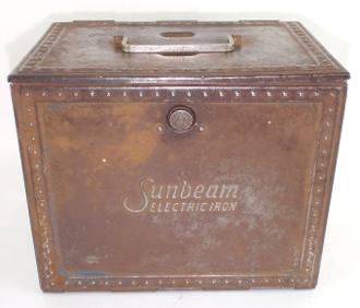 Sunbeam Electric Iron Flip Open Metal Tin Box