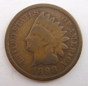 1898 Indian Head Penny One Cent Coin
