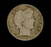 50 Cent 1909-S Barber Liberty Head Silver Half Dollar
