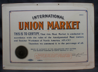 International Union Meat Market Certification Sign