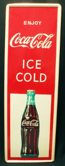 Coke Enjoy Coca Cola Ice Cold 1960's Vertical Soda Sign