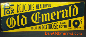 FOX-Old Emerald 'Healthful' Vintage Embossed Tin Soda Sign