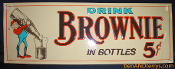Brownie in Bottles 5 Cent Single Sided Tin Soda Cola Sign