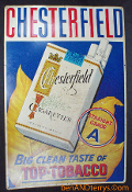 Chesterfield Top-Tobacco Cigarettes Embossed Metal 1950's Sign