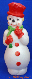 "Smiling Snowman with red top hat 22""  Christmas Blow Mold"